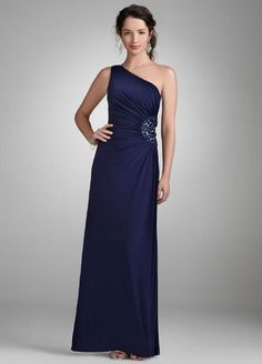 Amazon.com: Davids Bridal One Shoulder Evening Gown with Beaded Detail Style 260160D: Clothing
