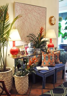 Palm Beach vibes with bright colors and an array of textures at Mecox! #interiordesign #home #decor #design #lighting #MecoxGardens