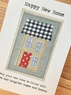 53 new Ideas home diy crafts handmade gifts etsy Fabric Cards, Fabric Postcards, Paper Cards, Diy Cards, Embroidery Cards, Free Motion Embroidery, New Home Cards, Freehand Machine Embroidery, Sewing Cards