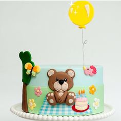 Bear cute cake Beautiful Cakes, Amazing Cakes, Teddy Bear Cakes, Animal Cakes, First Birthday Cakes, Novelty Cakes, Love Cake, Cute Cakes, Celebration Cakes