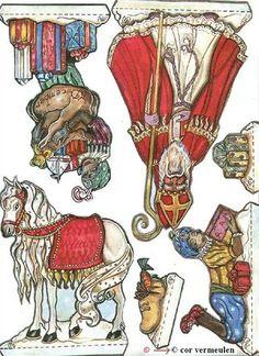 Sinterklaas Opschool on Photobucket Christmas Paper, Christmas Holidays, Paper Toys, Paper Crafts, Embroidery Designs, Christian Images, Happy Birthday Jesus, Vintage Santas, Handmade Toys