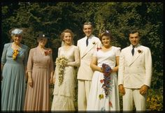 Date: Jul. 11, 1942 Description: Wedding party at Wheaton, IN   From: The Charles W. Cushman Photograph Collection    Indiana University Archives / Digital Library Program