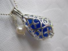 genuine COBALT Seaglass Locket chain