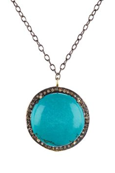 Turquoise Cabochon Diamond Pendant Necklace - 0.70 ctw