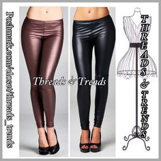Glamour Leather Like leggings Create a glamorous look this holiday season. In these metallic Burgandy & Black leather like leggings. Made of a medium weight faux leather fabric that is soft and has great stretch. Pair with tunics or sweaters. Size S, M, L Threads & Trends Pants Leggings