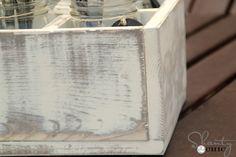 How_to_distress_wood using Rustoleum dark walnut stain and Rustoleum Heirloom White spray paint (my favorite)