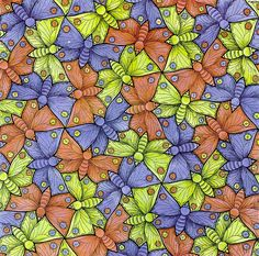 M.C. Escher painted this intricate butterfly tessellation.