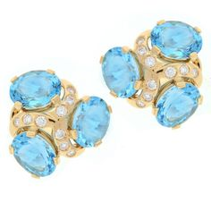 Verdura Blue Topaz Diamond Gold Three Stone Earrings | From a unique collection of vintage clip-on earrings at https://www.1stdibs.com/jewelry/earrings/clip-on-earrings/