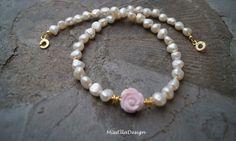 Perlenkette+Perlmuttrose+925+Silber+vergoldet+von+Edelsteinreich+auf+DaWanda.com