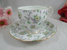 Vintage Hand Painted Royal Grafton English Bone China Teacup English Teacup and Saucer - Charming Tea Cup
