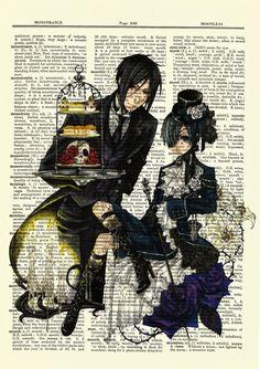 Black Butler (Sebastian and Ciel) Upcycled Dictionary Art Print Poster
