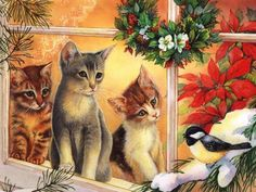 Christmas animals Gifs images and Graphics. Christmas animals Pictures and Photos. Christmas Kitten, Christmas Animals, Christmas Scenes, Christmas Pictures, Vintage Christmas Cards, Xmas Cards, Illustration Noel, Vintage Cat, Christmas Printables