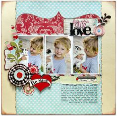 #Papercraft #scrapbook #layout.  Kitty Love *NEW Pink Paislee*