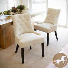 The features of the Hayden tufted chair make this piece suitable as a dining chair or as an accent chair. It is upholstered in a neutral beige or brown fabric with a diamond tufted backrest that contours the body for added comfort.