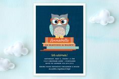 Bookworm Owl Baby Shower Invitations by Kristie Kern at minted.com