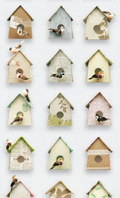 Birdhouses wallpaper by Studio Ditte. The wallpaper is filled with sweet bird houses and graceful birds, at a slightly weathered background. Motes from the basket rags, newspaper clippings and cheerful prints make these birdhouses a decoration for your wall. The wallpaper is 6 meters long and the pattern repeats itself after 3 meters.