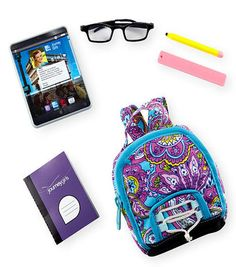 Go back to school with the Journey Girls School set! This exclusive set comes with a tablet, glasses, notebook, pencil and eraser. Barbie Doll Set, Barbie Toys, Girl Dolls, My Life Doll Accessories, American Girl Accessories, Poupées Our Generation, Rangement Makeup, American Girl Doll Sets, Accessoires Barbie