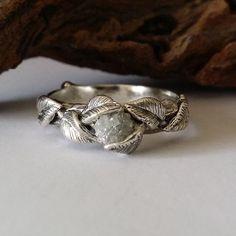 Twig and Leaf Engagement Ring Wedding Band by DawnVertreesJewelry