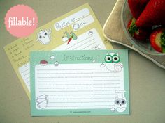 Printable and Fillable Owl Recipe Card by MyOwlBarn--plus many cute owl things