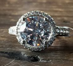 A Perfect 2.3CT Round Cut Halo Russian Lab Diamond Platinum Ring