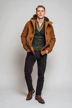 Custom Menswear Made in America Simple Outfits, Casual Outfits, Banded Collar Shirts, Tweed Waistcoat, Fitted Suit, 3 Piece Suits, Dress With Boots, Menswear, Men Coat