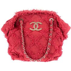 Pre-owned Chanel Red Tweed Nature Tote ($1,500) ❤ liked on Polyvore featuring bags, handbags, tote bags, tweed handbag, chain purse, chanel handbags, ruffle purse and chanel purses