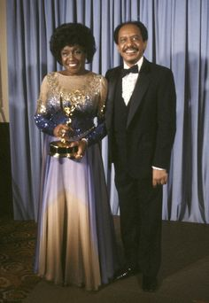 Actress Isabel Sanford and actor Sherman Hemsley attend the Annual Primetime Emmy Awards on September 13 1981 at the Pasadena Civic Auditorium. Black Tv Shows, Old Tv Shows, Movies And Tv Shows, Black Actresses, Actors & Actresses, Black Celebrities, Celebs, Sherman Hemsley, Tv Moms