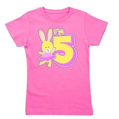 Ballerina Bunny is celebrating her fifth birthday in a pink tutu. Cute birthday gift for the 5 year old!