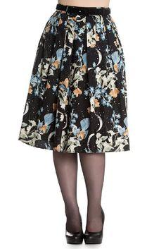 Hell Bunny MOONLIGHT Blüten FLOWER Swing Skirt TELLERROCK mit Gürtel Rockabill