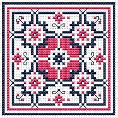 Biscornu Free Charts | Cross Stitch Patterns > Various Designs > Dusty Rose Biscornu