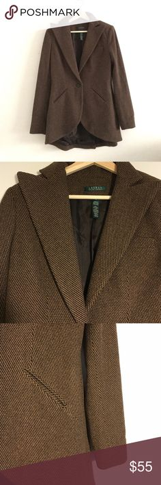 Classic Ralph Lauren Wool Blazer This blazer is quintessential Ralph Lauren: Classic, tailored and preppy chic! It will be a fall staple. The back dips down a bit longer, which I prefer. In great condition. It's a wool blend - not 100% wool. Ralph Lauren Jackets & Coats Blazers