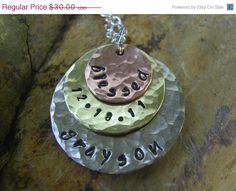 Layered Mixed Metal Trio Necklace Hand Stamped by KottageKreations, $28.50