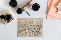How To Calligraphy Envelopes + A Giveaway (Style Me Pretty Living) Calligraphy Types, Brush Pen Calligraphy, Calligraphy Envelope, Beautiful Calligraphy, Modern Calligraphy, Style Me Pretty Living, Wedding Invitation Inspiration, Journal Paper, Addressing Envelopes