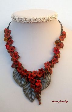 Fall Necklace Flower Necklace Autumn Jewelry  by insoujewelry