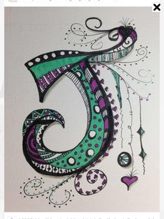 Letter j. I didn't think I could do zen tangle letters.I started with a J for Jeannie. Now I am excited to make the whole alphabet. Doodle Lettering, Creative Lettering, Typography, Doodles Zentangles, Zentangle Patterns, Doodle Drawings, Doodle Art, Tangle Doodle, Dafont