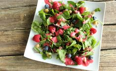 Spinach Salad with Raspberry Tahini Dressing - Verity Nutrition Berry Salad, Holistic Nutritionist, Tahini Dressing, Spinach Salad, The Fresh, Beets, Raspberry, Berries, Dishes