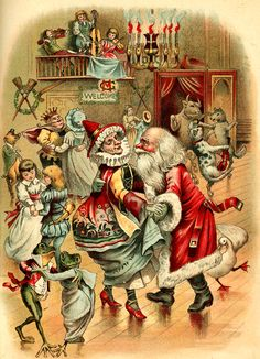 Santa and Mother Goose at the ball, 1895.  Note that the goose (or gander) is dancing right alongside Santa.