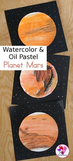 Watercolor & Oil Pastel: Planet Mars for kids - easy mix art projects for kids to do for the planet Mars. You have fun with different ages level doing the same art project- 3Dinosaurs.com  #3dinosaurs #watercolorforkids #mixedartproject #planetforkids #mars Planets Activities, Space Activities For Kids, Fun Crafts For Kids, Projects For Kids, Art Projects, Science Activities, Toddler Crafts, Creative Crafts, Diy Crafts