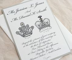 Royal Wedding invitation set King and Queen black and silver. $3.70, via Etsy.