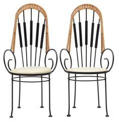 A pair of Mid Century Modern Arthur Umanoff style wrought iron cafe chairs. These chairs circa early have wrapped rattan detailing to their slatted backs, swirled starburst arms, and round se. Outdoor Chairs, Outdoor Furniture, Swing Chairs, Outdoor Decor, Cafe Chairs, Swinging Chair, Mid Century Modern Furniture, Wrought Iron, Rattan