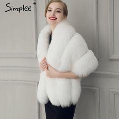 Simplee Winter grey fox faux fur coat women Warm fashion black synthetic fur cape coat White thick plush furry shawel 2016