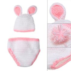 Crochet Baby Bunny Rabbit Hat and Diaper Cover Set Newborn Easter or  Halloween Photo Prop Knitted Costume Set Baby Photo Props 2ce913687993