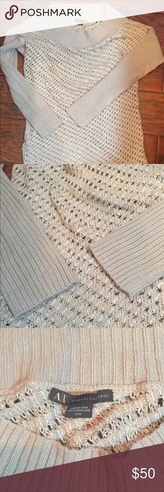 NWOT A/X Armani Exchange Long Sweater A/X Armani Exchange long stylish boat neck sweater. Never been worn. It will go great with leggings or mini skirt. A/X Armani Exchange Sweaters Crew & Scoop Necks