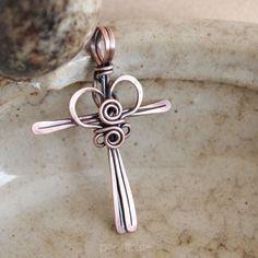 Handmade Copper Cross Pendant Wire Wrapped Necklace - Cross My Heart | popnicute - Jewelry on ArtFire