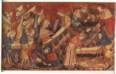 Peasants burying the dead. from a manuscript belonging to  Edimage/Goldner, Paris, Mid 14th century  Note the pouches, hats and lined hoods. Coffins picks and shovels.  Body wrapped in a shroud. Note method of carrying coffin on poles.