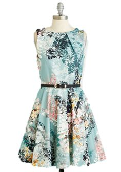 39e83944200 Fit   Flare - Luck Be a Lady Dress in Sage Bouquet