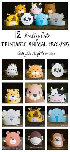 Set of 12 Animal Crown Templates. Create your own Animal Paper Crowns. Zebra crown, Tiger crown, Koala crown, cheetah crown, beaver crown, cow crown, koala crown, Giraffe crown, elephant crown, bear crown, monkey crown, Dog crown.   Print, cut & glue. Printable PDF in full color. ArtsyCraftsyMom.com 12 .pdf file available for instant download
