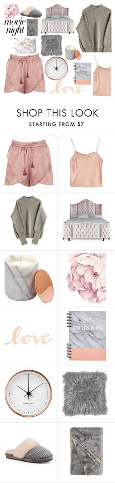 """Cozy night at home"" by maixfashion ❤ liked on Polyvore featuring Boohoo, Alice + Olivia, Haute House, Primitives By Kathy, Georg Jensen and UGG"