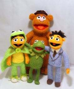 Special Order Set of 4 Needle Felted Muppets by WoolingtonLane, $155.00. They look so real!