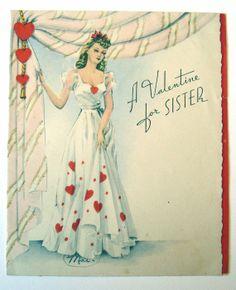 Vintage Valentine Card - A Valentine for Sister